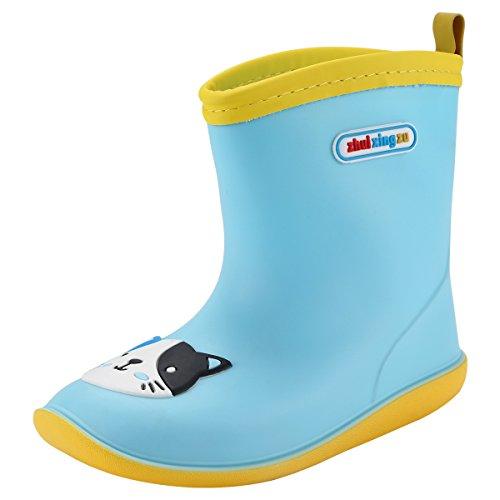 Qimaoo Kinder Gummistiefel Mädchen Jungen Rengenstiefel Leicht für Regen und Schnee - EU 27Length/ 17CM(Blau Kätzchen (Jungen Regen Gummi Stiefel)