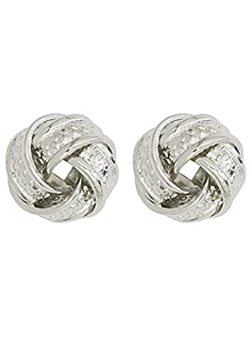 M&Co Ladies Small Silver Twist Knot Stud Earrings Silver One Size
