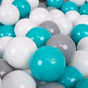 KiddyMoon 700 - Pelotas de plástico para niños, 7 cm de diámetro,, Color Gris, Blanco y Turquesa