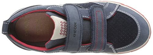 Geox J Kiwi B E, Baskets mode garçon Bleu (Navy/Red)