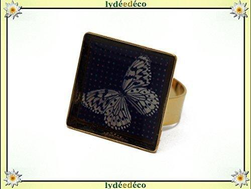 Ring Butterfly Harz beige grau schwarz verstellbare Quadrat 17mm Messing Gold 24 K Weihnachten Fest der Mütter Großmütter Geschenk Geburtstag Hochzeit Gast Heilige Geliebte