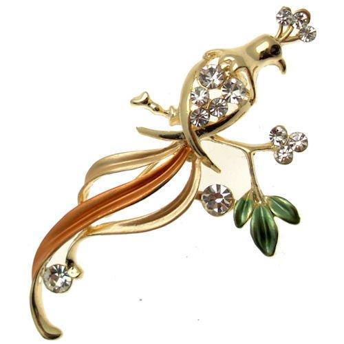 Acosta-Brooches Pretty Pesca con cristalli smaltati, tonalità oro &-Spilla a forma di uccello, motivo: pavone