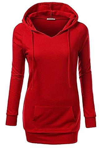 Frauen V-Ausschnitt-Pullover Kapuzen langen Abschnitt Pullover langen Ärmeln Kleid Tasten Minirock Shirt (EU34-S, Rot)