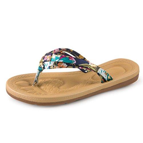 Ouneed® Sommer Damen flachen Flip Flops Sandalen Slipper Böhmen Strand Schuhe Flip Flops Erwachsene Zehentrenner (38, Braun)
