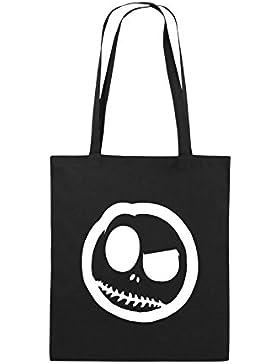 Comedy Bags - BÖSER SMILY - COMIC - Jutebeutel bedruckt, Baumwolltasche zwei lange Henkel aus 100 % Baumwolle...