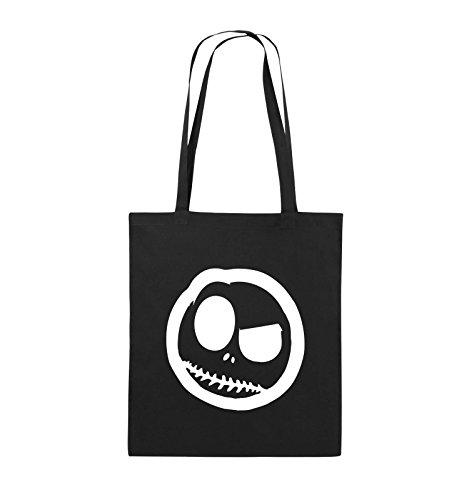 Comedy Bags - BÖSER SMILY - COMIC - Jutebeutel - lange Henkel - 38x42cm - Farbe: Schwarz / Silber Schwarz / Weiss