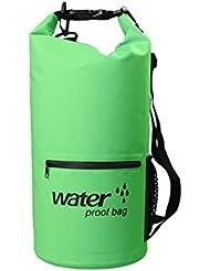 Hzjundasi Zipper bolsa seca impermeable Strap Actividades al aire libre Deportes acuáticos Senderismo, Natación, Paseos en barca, Piragüismo Saco seco verde 20L