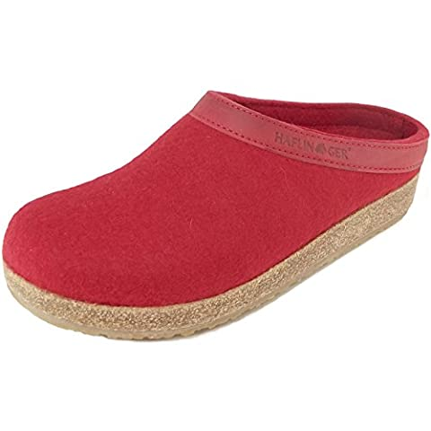 Haflinger Grizzly Torben 713001-0-11 Damen Pantoffeln, rubin, Gr. 42 (Wollfilz Thema)