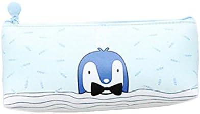 Drawihi Trousse 1 Pcs Pochette Mignonne De Pingouin Bleu Zipper PU Stockage De Papeterie en Cuir | Léger