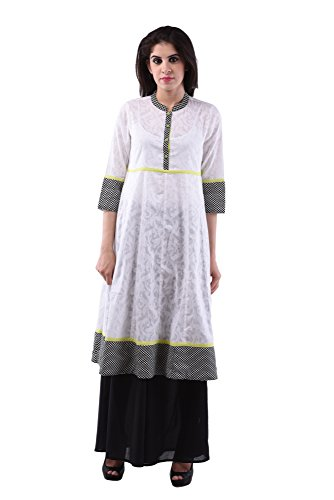 AARR cotton /plazo set White 3/4th sleeves kurta for women