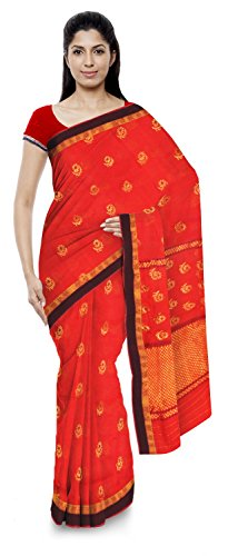 Kota Doria Sarees Handloom Women's Kota Doria Handloom Cotton Silk Saree With Blouse Piece (Red)