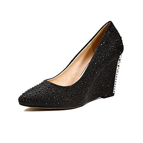 AgooLar Femme à Talon Haut Couleur Unie Tire Pointu Chaussures Légeres Noir
