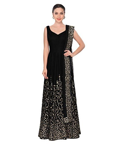 Jsv Fashion Women's Cotton Silk Anarkali Lehenga Choli (Black T_Black_Free Size)