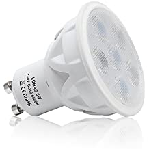 LOHAS® 1 Paquete 6 Watt GU10 LED Focos Bulbos de Halógeno de 50 Watt Equivalente, 6000K, Día Blanco, Focos, No Regulable, Bombillas de Luz LED