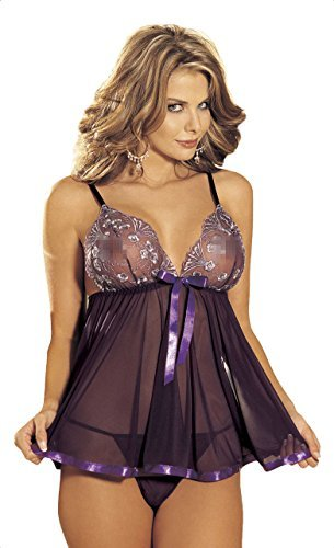 Shirley of Hollywood Number 96121 One Size Purple Sequin Embroidery and Sheer Net Babydoll by Shirley of Hollywood (Sheer Shirley Net Hollywood Of)