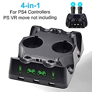AMANKA PS VR Controller Ladestation für PS4 / PS VR/Move-Motion-Controller, 4-in-1-Ladestation für Desk Station…