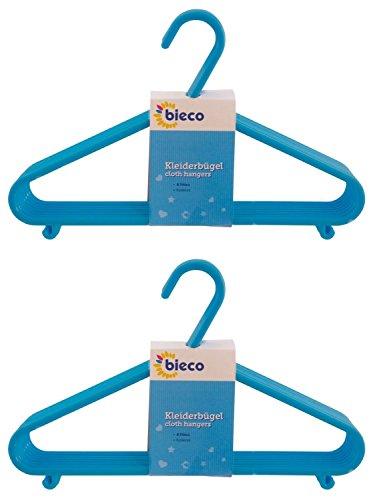 BIECO cintres bébé enfant Hanger cintres pour bébés cintres en plastique pour la longueur de l'armoire de stockage garde-robe 29.5cm, 16 pièces, bleu clair, étroit, ArtN 90016151