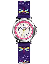 TrendyKiddy - KL 376 - Montre Fille - Quartz Analogique - Cadran Blanc - Bracelet Nylon Violet