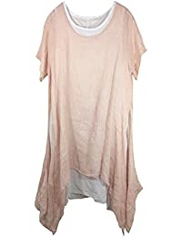 Leinen Tunika-Kleid mit Seitenschlitzen, 2-teilig incl. separatem Unterkleid, Kurzarm, MADE IN ITALY