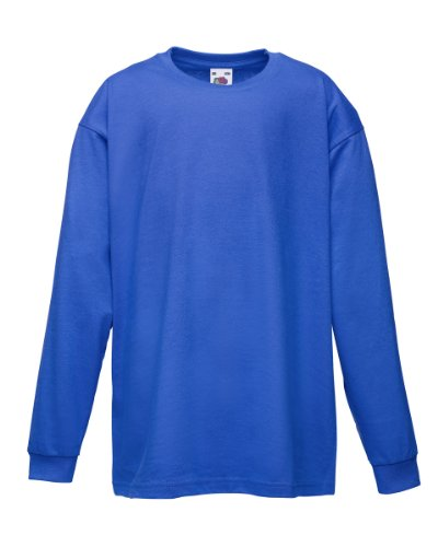 Fruit Of The Loom Kinder T-Shirt, langarm 152,Blau - Royal (T-shirt Loom Crew Herren)