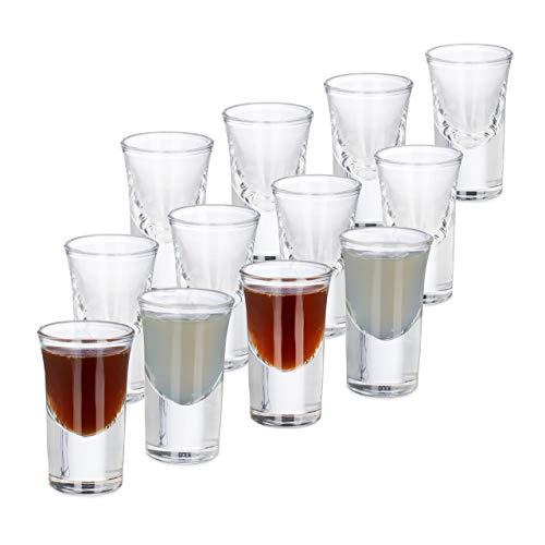 Relaxdays 12er Set Schnapsgläser, aus Glas, 2 cl, Tequila, Vodka, Kaffee, Party, Shots, spülmaschinenfest, transparent