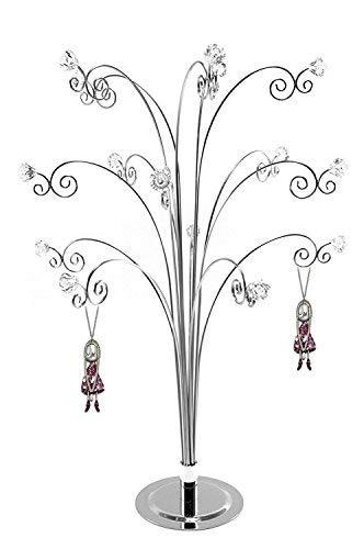 Hohiya, supporto per orecchini, collane, anelli e gioielli. espositore e supporto per gioielli, a forma di albero, argentato, con gemme. cromato. 51 cm. colore: argento