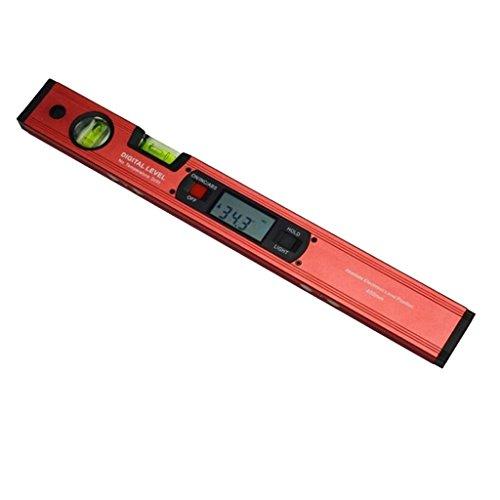 petsola Digitale Wasserwaage 400cm Mit 2 Fach Libellen, Messbereich(0~360 °), LCD Display - rot