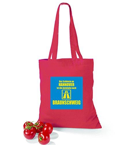 Artdiktat Baumwolltasche Das Schönste an Hannover ist die Autobahn nach Braunchweig violet cranberry