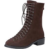 ELEHOT Donna Eledrop tacco a blocco 3CM Leather Stivali