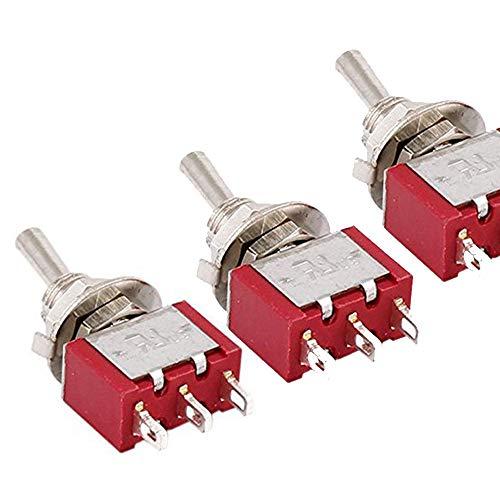 Ogquaton Interruptor de Palanca Momentánea SPDT 2 Vías-6mm Montaje-3 Piezas-AC250V 2A 120V...