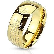 Coolbodyart Dome Anello in acciaio inox 6/8 mm croce preghiera padre nostro Signore larghezza Amen anello misure 47 (15) - 69 (22) - Oro Signore Dome