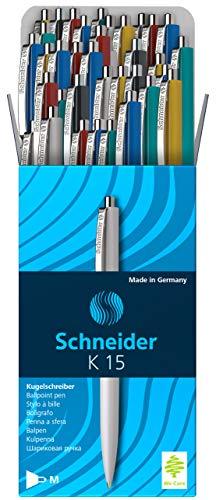Schneider K 15 Druckkugelschreiber (dokumentenechte Mine - Strichstärke M, Schreibfarbe: blau) 50 Stück sortiert - Kostengünstige Einweg