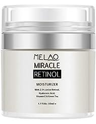Retinol Moisturizer Cream,Melao Anti-aging Wrinkle Night/Day Cream for Face and Eye with 2.5% Retinol,Hyaluronic,Vitamin E and Jojoba Oil