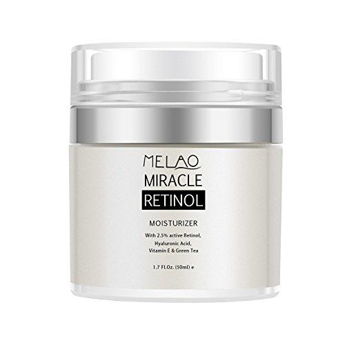 Retinol Moisturizer Cream, Melao Anti-Aging Falten Nacht / Tagescreme für Gesicht und Augen mit 2,5% Retinol, Hyaluron, Vitamin E und...