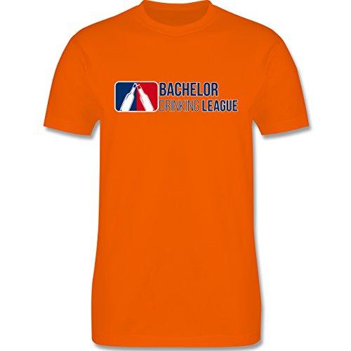 Shirtracer JGA Junggesellenabschied - Bachelor Drinking League - Herren T-Shirt Rundhals Orange