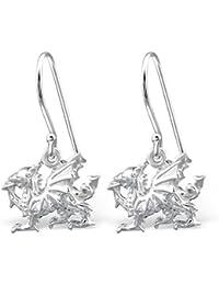 Sterling Silver Dragon Earrings - Dangle Fish Hook