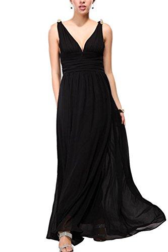 Sexy col v profond Swing ruché robe Maxi des femmes Black