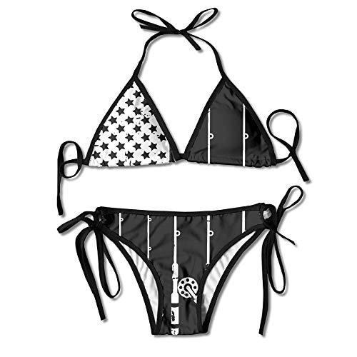 Women Swimwear American Gun Flag Funny Sexy Bikini Sets 2 Piece Bathing Swimsuits Tie Back Bikinis