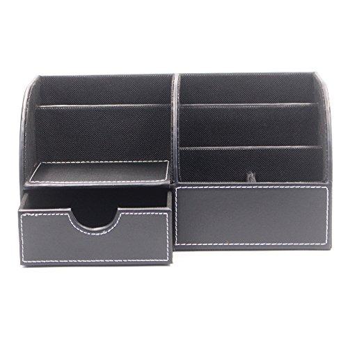 Schwarze Leder-handy-halter (Lenhart Multifunktions-PU Leder Office Schreibtisch Organizer Business-Pen/Bleistift/Handy/Stationery Halter Aufbewahrungsbox (schwarz))