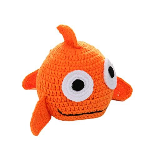 TOYANDONA Neugeborenes Baby Fotografie Prop Hut süße Wolle Stricken Goldfisch Hut Kostüm Fotografie Zubehör (Orange)