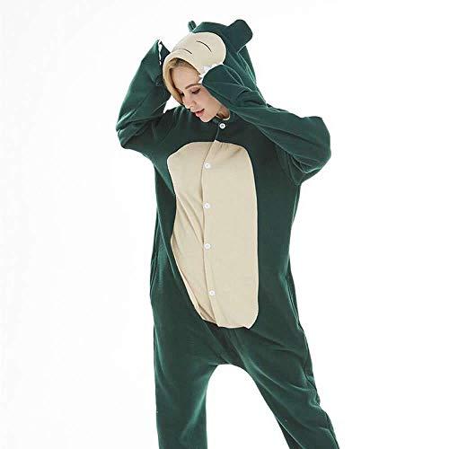 Snorlax Schlafanzug, für Erwachsene, Herren, Damen, mit Schnorchelmotiv, Grün Gr. 85, (Charmander Halloween Kostüm)