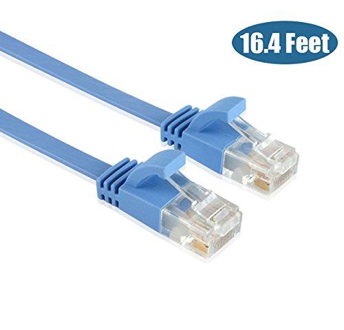 Enterest Ultra Slim Flach Profil RJ45 Cat 6 flach Ethernet Kabel mit HSS für Computer/Modem/Smart Fernseher/Router/LAN/Drucker/Mac/Laptop/Playstation 3/4/Xbox (16.4 Füße)