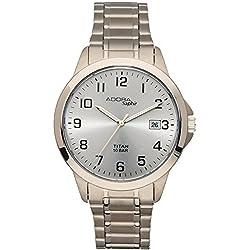 Herrenuhr Armbanduhr Quarzuhr Analoguhr Titan mit Datumsanzeige Adora Saphir 29025, Variante:01