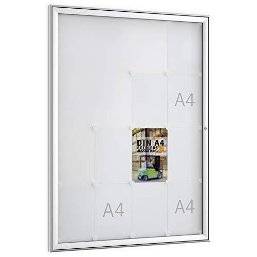 Betriebsausstattung24 Schaukästen für Innen- & Außenbereiche | Aushängekasten mit magnetischer Rückwand | BxH 93,0 x 127,5 cm |(FSK16 (16x DIN A4))