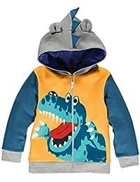 LitBud niños pequeños Sudaderas con Capucha Chaqueta de Dibujos Animados Dinosaurio Cremallera Packaway otoño Abrigo para niños 1-7 años