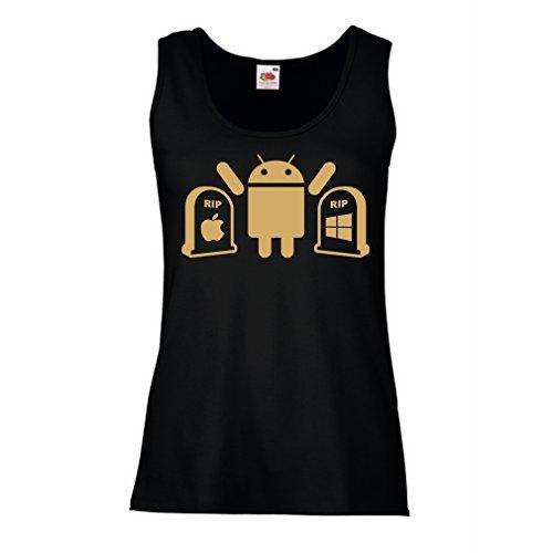 lepni.me Damen Tank-Top Der Gewinner ist Android - Geschenk für Tech-Fans (XX-Large Schwarz Gold) (Charlotte Top Tank V-neck)