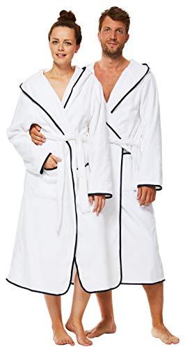 Sowel® Bademantel Damen und Herren, 100% Baumwolle, Kapuze, Extra Lang, Flauschiges Frottee, Premium, XS, Wei§/Navy