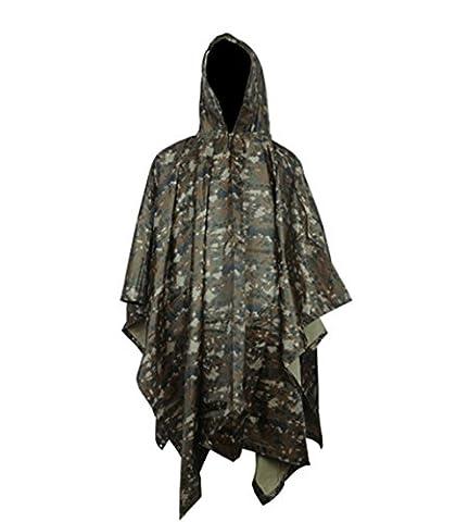 Multifunction Military Impermeable Camo Raincoat Waterproof Rain Coat Men Women Motorcycle Rain Poncho for Camping Fishing (Jungle Digital Camo)