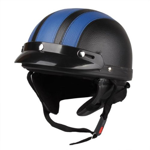 Zimo® Motorrad Scooter Kunstleder überzogen Helm Halbhelm Schutzhelm Motorradhelm Sturzhelm Kampfhelm + Schutzbrillen blau schwarz