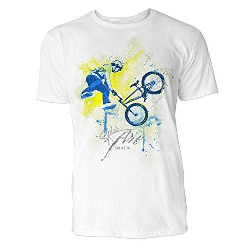 BMX Rad X-up Sinus Art Herren T Shirt (Weiss) Crewneck Tee with Frontartwork